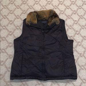 Lands end Black vest with fur